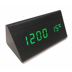 Часы LED электронные Wooden Clock VST-861 черные с зеленой подсветкой