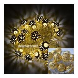 Гірлянди новорічні оптом шарики, цвет шарика серебро 20LED