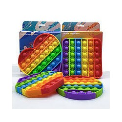 Пузырчастая игрушка Pop It Fidget rainbow в форме круга